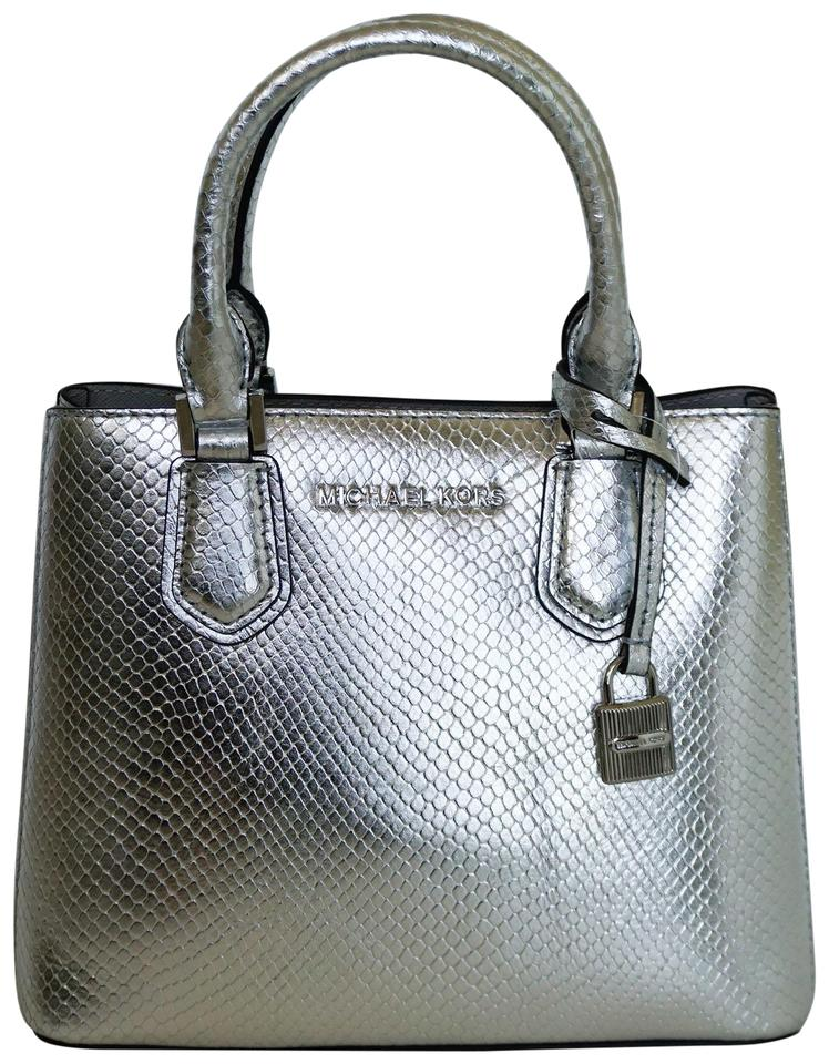 81cf6ded1b3a Michael Kors Messenger Adele Md Embossed Silver Leather Cross Body ...