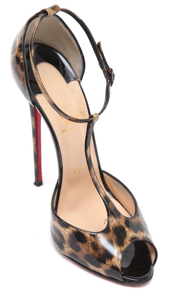 the best attitude c86f5 a6d49 Christian Louboutin Brown Patent Leather Senora Leopard T-strap Sandals  Size EU 38.5 (Approx. US 8.5) Regular (M, B) 53% off retail