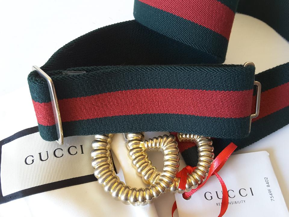 b659811ee9b Gucci Green Red Web Elastic with Torchon Double G Buckle Size 32 In ...