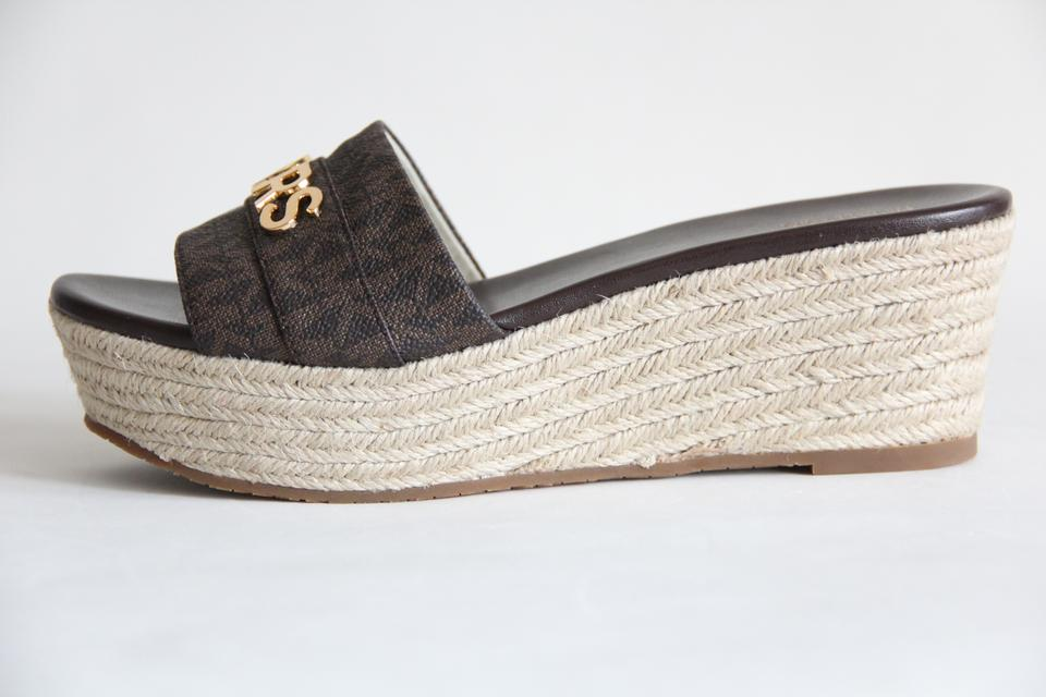 67a53cb17183 Michael Kors Mk Logo Signature Brady Wedge Brown Sandals Image 11.  123456789101112