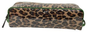 Kate Spade KATE SPADE Leopard Long Coated Cosmetic Clutch Pouch Green Trim