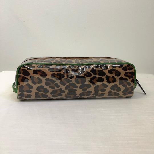 Kate Spade KATE SPADE Leopard Long Coated Cosmetic Clutch Pouch Green Trim Image 1
