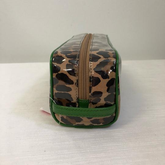 Kate Spade KATE SPADE Leopard Long Coated Cosmetic Clutch Pouch Green Trim Image 2