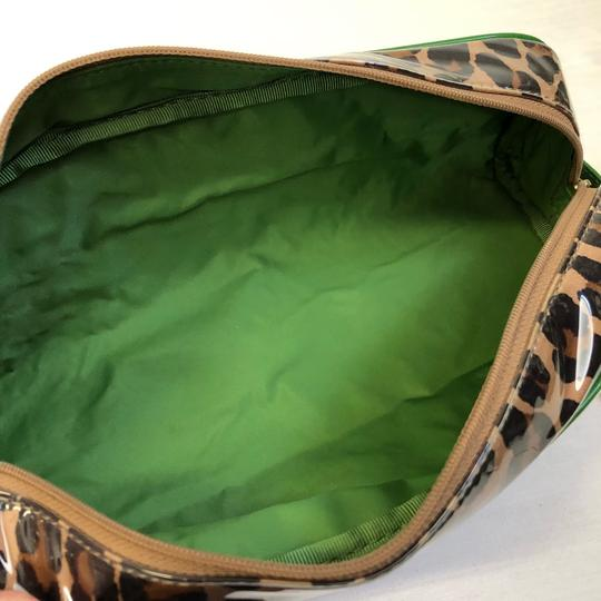 Kate Spade KATE SPADE Leopard Long Coated Cosmetic Clutch Pouch Green Trim Image 3