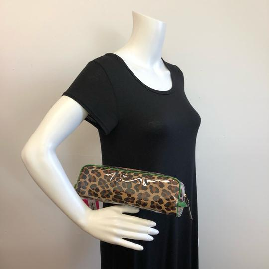 Kate Spade KATE SPADE Leopard Long Coated Cosmetic Clutch Pouch Green Trim Image 4