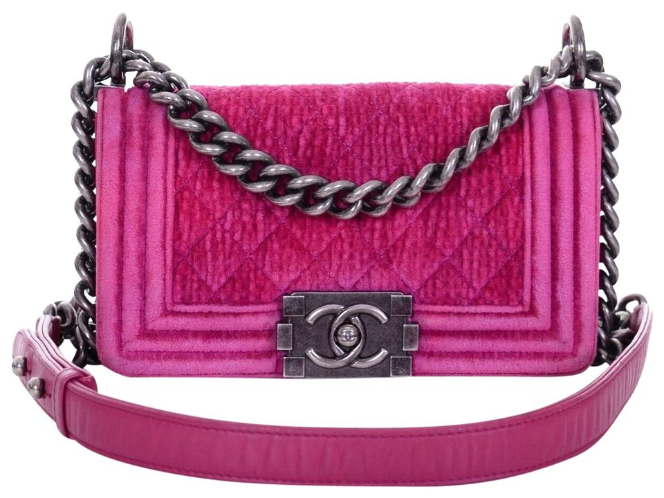 3198decbba20 Chanel Boy Small Quilted Flap Purse Hot Pink Velvet Cross Body Bag ...