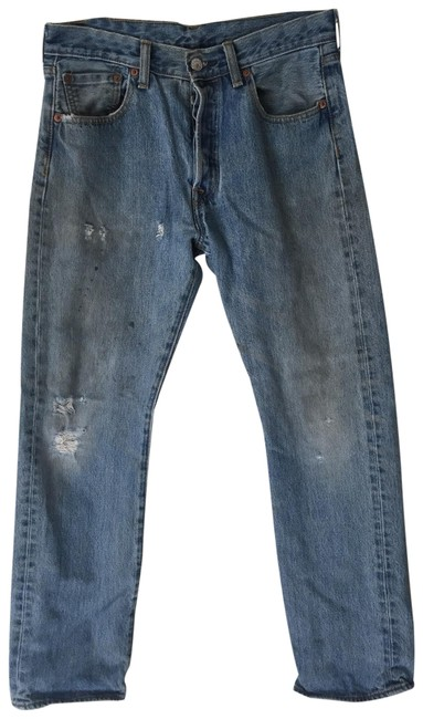 Item - Blue Distressed 501 Button Fly Vintage Relaxed Fit Jeans Size 8 (M, 29, 30)