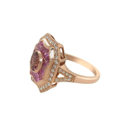 Other 14k Rose Gold Pink Sapphire, Tourmaline and Diamond Ring Image 4