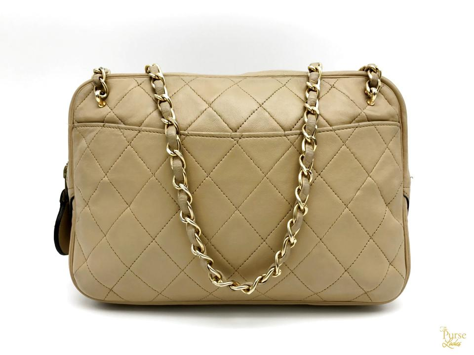 5a219abcb617b3 Chanel Beige Quilted Crossbody Gold Chain Vintage Zip Ar Brown Lambskin  Leather Shoulder Bag