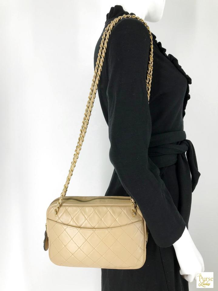 65b47c9fdea1 Chanel Beige Quilted Crossbody Gold Chain Vintage Zip Ar Brown Lambskin  Leather Shoulder Bag - Tradesy