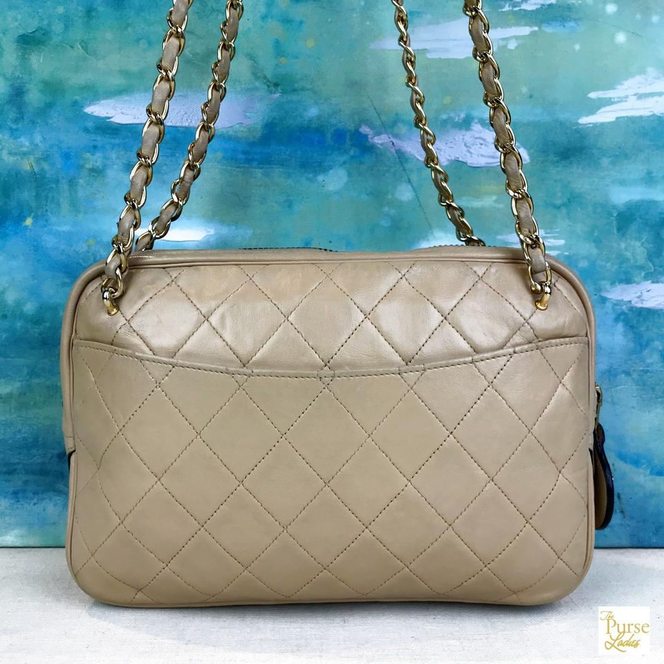 1a55c050ab97 Chanel Beige Quilted Crossbody Gold Chain Vintage Zip Ar Brown ...