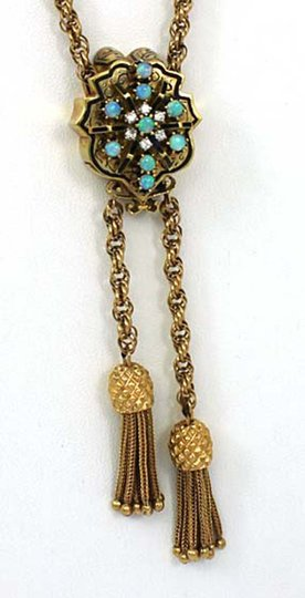 Other Vintage Diamond & Opal 14k Gold Hidden Watch Slide Pendant Tassel Chai Image 1