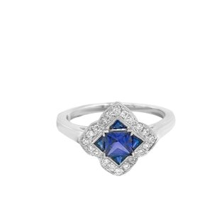 Other 14K White Gold .55ct Sapphire and Diamond Ring