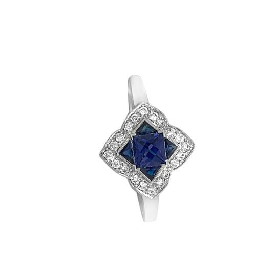 Other 14K White Gold .55ct Sapphire and Diamond Ring Image 2