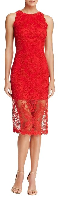 Tadashi Shoji Red Womens Lace Sleeveless Party Mid-length Cocktail Dress Size 12 (L) Tadashi Shoji Red Womens Lace Sleeveless Party Mid-length Cocktail Dress Size 12 (L) Image 1