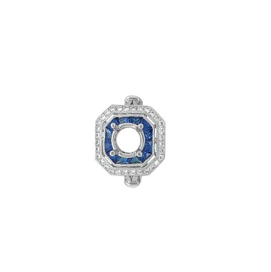 Other 14K White Gold 1.30ct Sapphire and Diamond Ring Mount Image 5