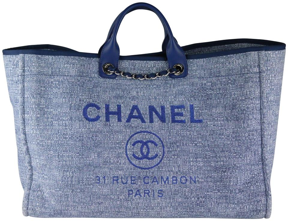 e8bcda16b852 Chanel Deauville Extra Large Tweed Deauville Navy Navy Deauville Tote in  Blue Image 0 ...