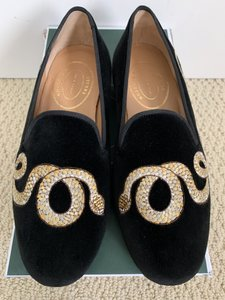 d9f9d912e13 Stubbs   Wootton Black Cobra Snake Embroidered Velvet Slipper Loafers Shoes