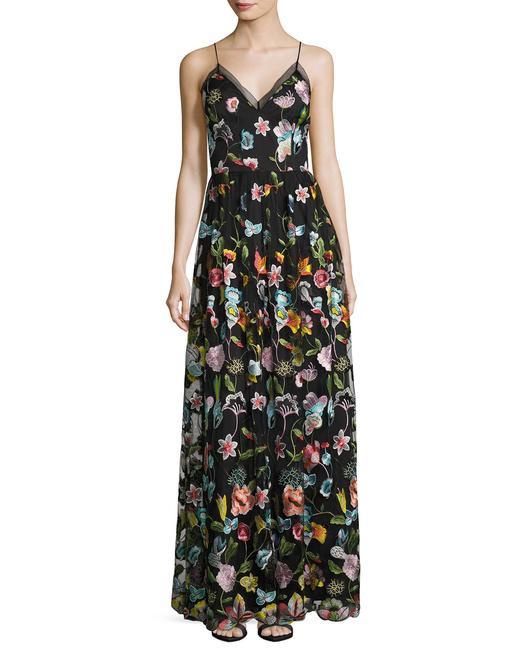 Aidan Mattox Embroidered Sheer Gown Dress Image 1