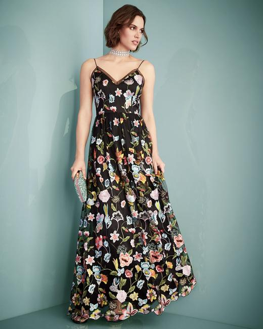 Aidan Mattox Embroidered Sheer Gown Dress Image 3