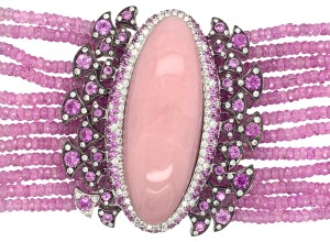Other 18K White Gold 188.12ct Pink Sapphire, Pink Opal and Diamond Bracelet