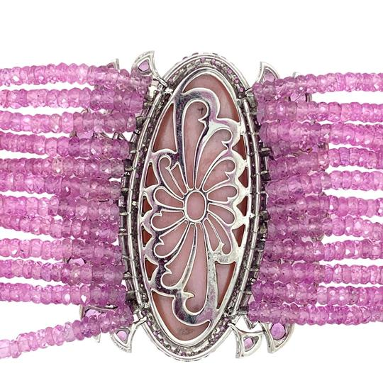 Other 18K White Gold 188.12ct Pink Sapphire, Pink Opal and Diamond Bracelet Image 1