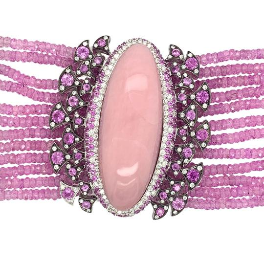 Other 18K White Gold 188.12ct Pink Sapphire, Pink Opal and Diamond Bracelet Image 2