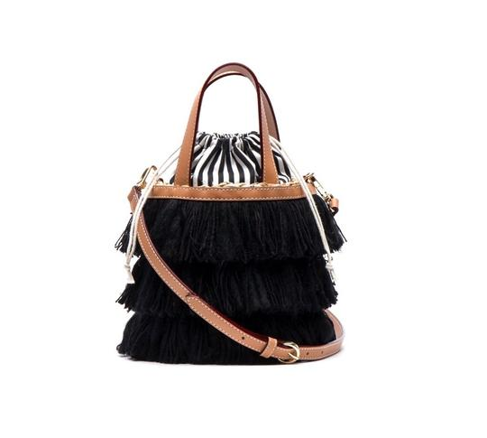 Preload https://img-static.tradesy.com/item/25115023/trez-fringe-bucket-black-satchel-0-0-540-540.jpg