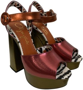 Charlotte Olympia Ankle Strap Open Toe Leather Pink Orange Green Platforms