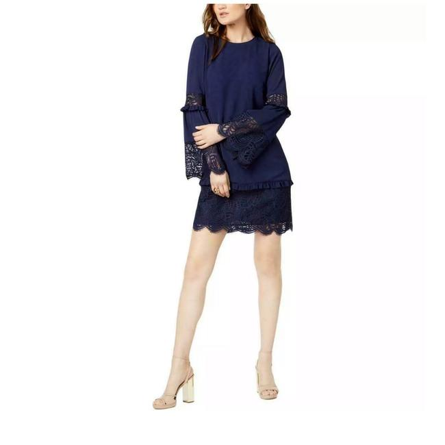 Michael Kors True Navy Bell Sleeve Lace Short Cocktail Dress Size 8 (M) Michael Kors True Navy Bell Sleeve Lace Short Cocktail Dress Size 8 (M) Image 1