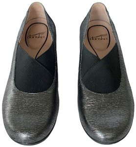 Dansko Comfort Cushioned Slip On Grey Metallic Mules