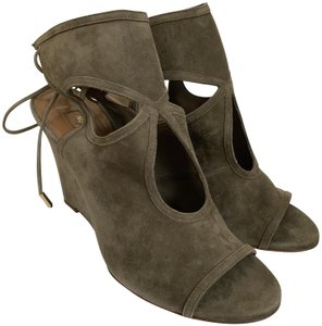 4440d1e0fb7 Aquazzura Suede Open Toe Wedge Ankle Strap Truffle Brown Olive Green Pumps