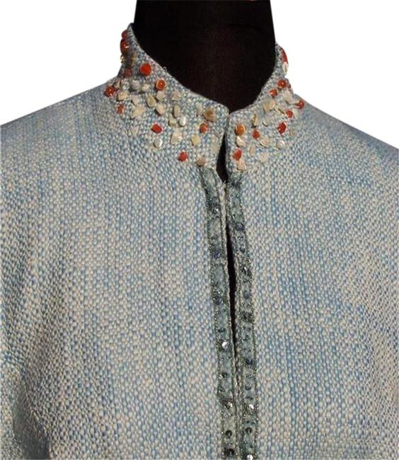 Item - Light Blue White Boucle Tweed Top New Lined Embellished Bead Sequin Stones Jacket Size 12 (L)