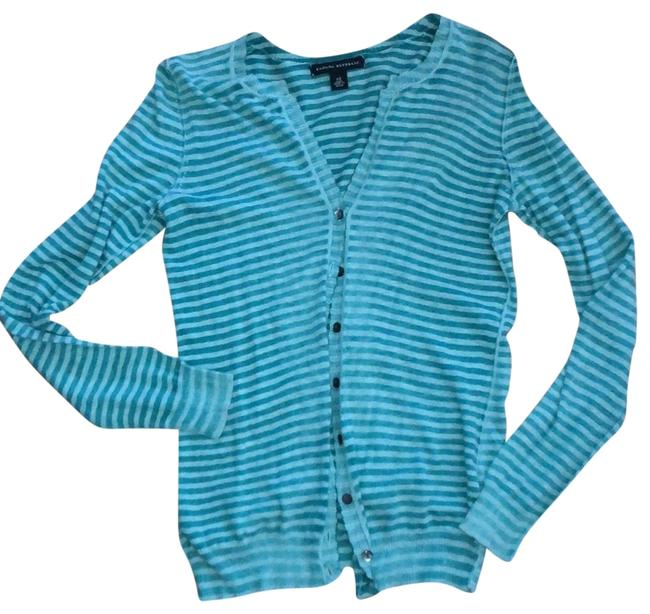 Item - Bluish/Green Striped Soft Button Front Cardigan Size 2 (XS)