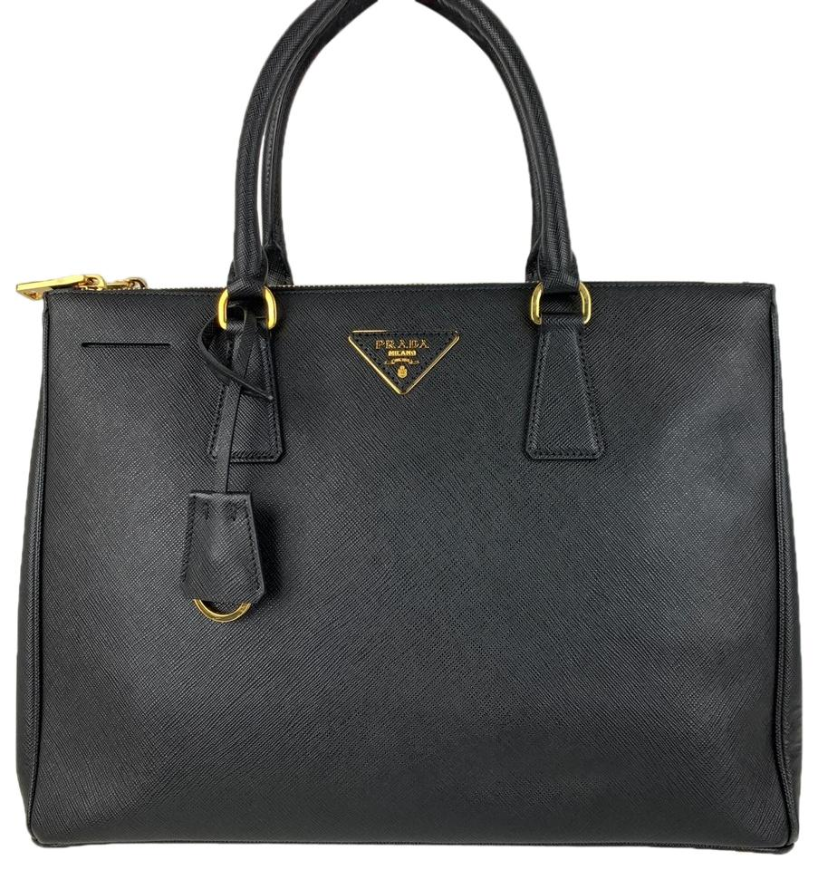 207a8de91880 Prada Galleria Double New Italian Medium Zip Black Saffiano Leather ...