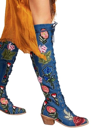 Jeffrey Campbell Denim X Free People Floral Joe Lace Up Boots Booties Size Us 6 Regular M B Tradesy