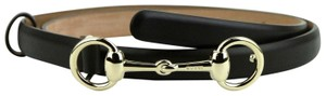 Gucci Brown Leather Skinny Belt w/Gold Horsebit Buckle 100/40 282349 2140