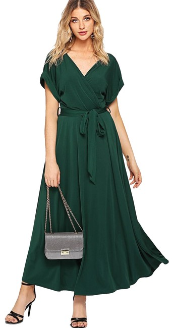 Item - Green Rolled Sleeve Self Belted Wrap Long Casual Maxi Dress Size 4 (S)