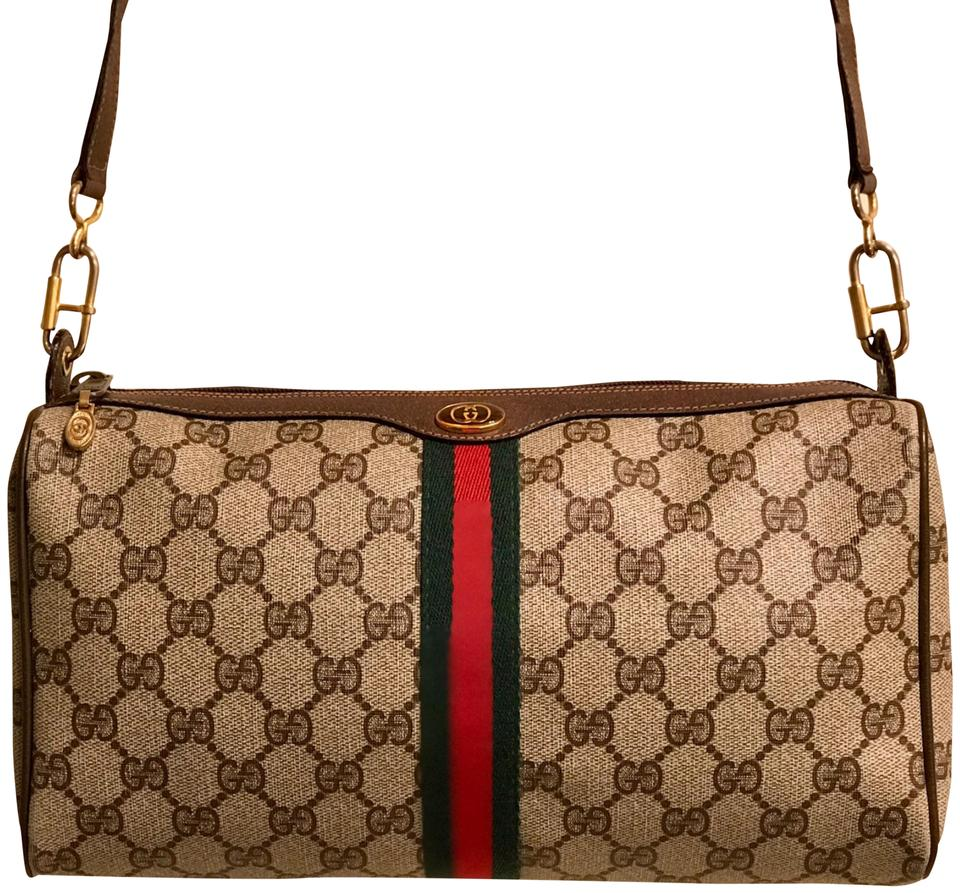 013a3cebe1d6 Gucci Monogram Gg Supreme Sherry Line Ophidia Brown Pvc/Coated Canvas with  Leather Trim Cross Body Bag