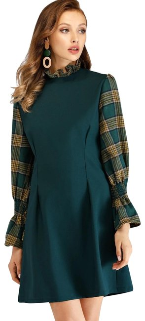 Item - Green Yellow Frill Neck Flounce Sleeve Plaid 2 In 1 Short Casual Dress Size 6 (S)
