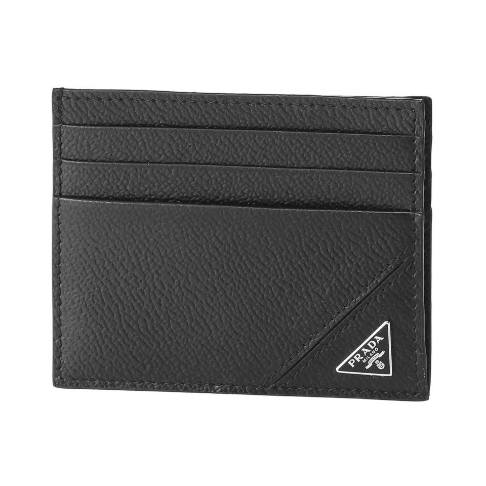 a1b3dca3157f Prada Black Leather Slim Credit Card Holder Wallet - Tradesy