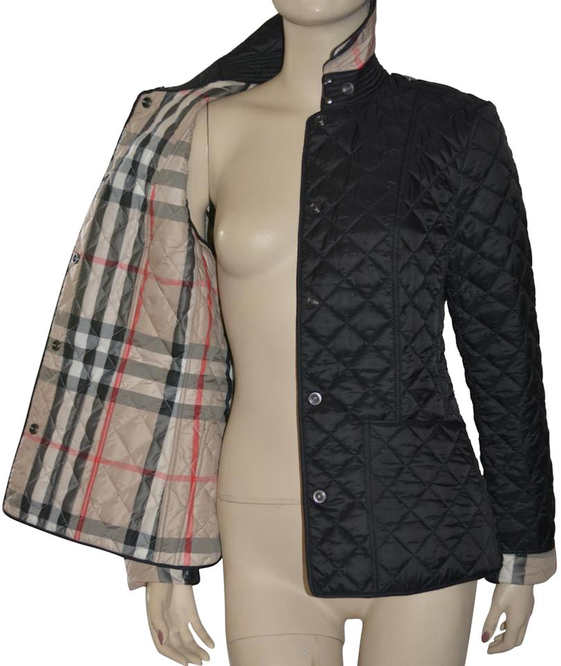 13b4822247bd Burberry Black Womens Quilted Check Jacket Small Coat Size 4 (S ...