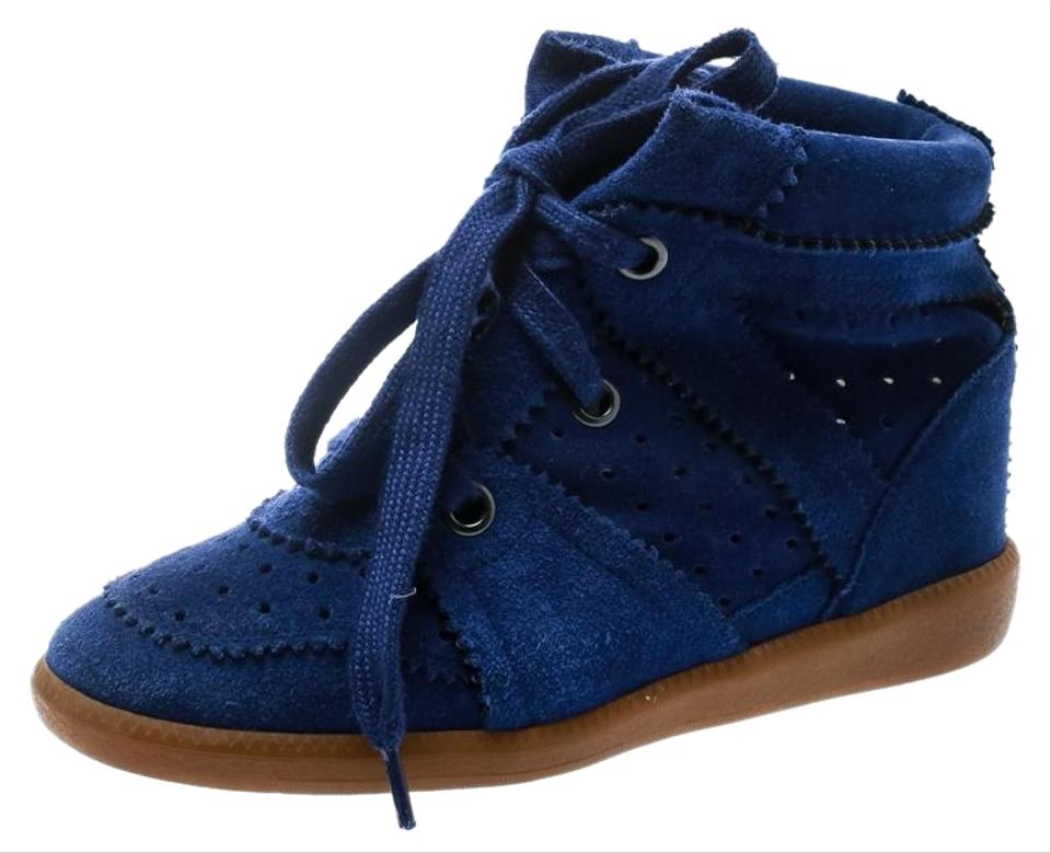 b887ef8621 Isabel Marant Blue Bobby Suede Lace Up Sneakers Wedges Size EU 36 ...