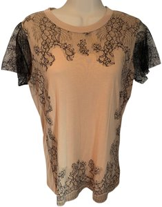Valentino Lace T Shirt beige & black