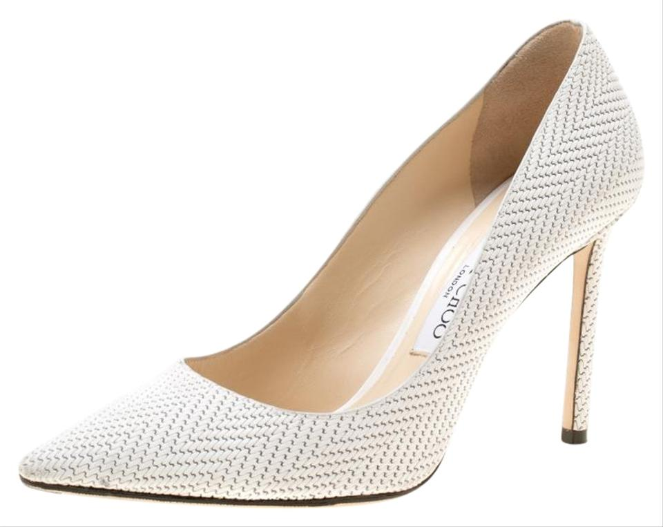 bfb6d90846 Jimmy Choo White Knitted Nubuck Leather Romy Pointed Pumps Size EU ...