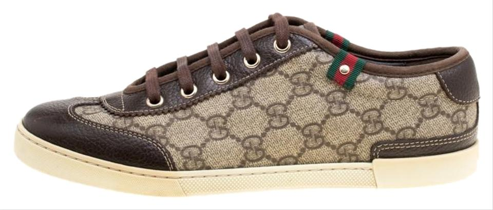 042213b2cea Gucci Brown Gg Supreme Canvas and Leather Barcelona Sneakers Flats ...
