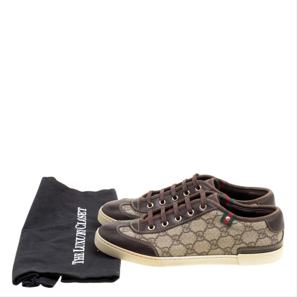 6dd1c1accc2d Gucci Brown Gg Supreme Canvas and Leather Barcelona Sneakers Flats ...