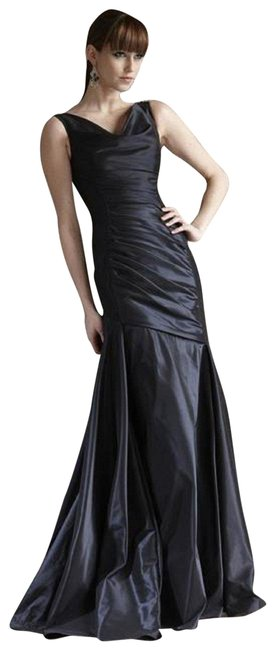 Theia Midnight Blue Sleeveless Fit And Flare Evening Gown