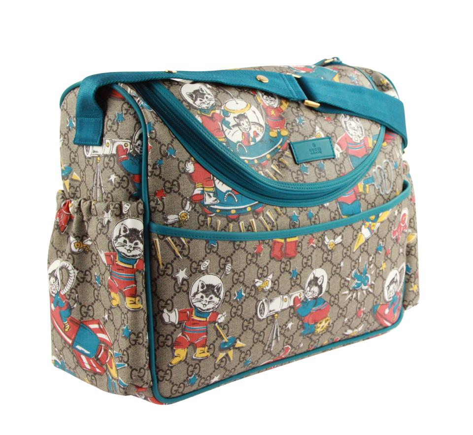 abfb8772a73a5b Gucci Mum Space Cats Gg Brown Coated Canvas Diaper Bag - Tradesy