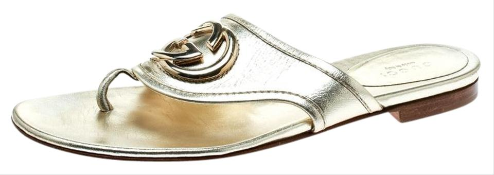 e8e48a735be Gucci Gold Metallic Leather Gg Logo Thong Slipper Flats. Size  EU 37 (Approx.  US 7) ...